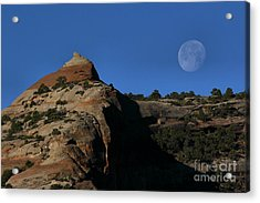 Setting Moon Acrylic Print by Steven Reed