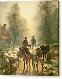 Setting Off For Market Acrylic Print by Constant-Emile Troyon