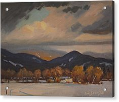 Acrylic Print featuring the painting Settled In The Hoosac Valley by Len Stomski
