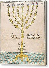 Seven-branched Candelabrum Or Menorah Acrylic Print by Prisma Archivo
