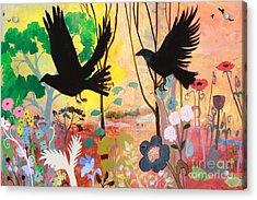 Seven Circling Crows Acrylic Print by Robin Maria Pedrero