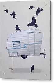 Seven Crows And A Canned Ham Acrylic Print by Jeffrey Bess