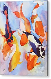 Acrylic Print featuring the painting Seven Koi by Shirin Shahram Badie