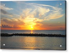Acrylic Print featuring the photograph Seven Mile Sunset Over Grand Cayman by Amy McDaniel