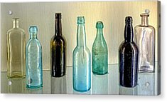 Seven Old Bottles Acrylic Print by Ludwig Keck