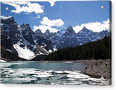 Seven Sisters At Moraine Lake Acrylic Print by Angela Boyko