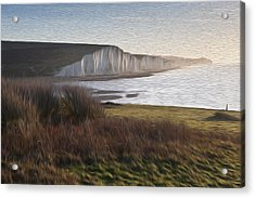 Seven Sisters Sunrise Viewed From Seaford Head Digital Painting Acrylic Print by Matthew Gibson