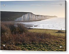 Seven Sisters Sunrise Viewed From Seaford Head Acrylic Print by Matthew Gibson