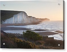 Seven Sisters Sunrsie Viewed From Seaford Head Acrylic Print by Matthew Gibson