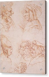 Seven Studies Of Grotesque Faces Acrylic Print