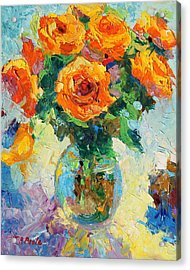 Seven Yellow Roses In Glass Vase Oil Painting Acrylic Print