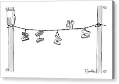 Several Pairs Of Shoes Dangle Over An Electrical Acrylic Print