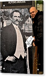 Severe Ordeals. Selfie With Alfons Mucha. Acrylic Print