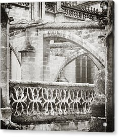Seville Cathedral Buttresses Black And White Acrylic Print by Angela Bonilla