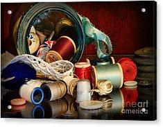 Sewing - Grandma's Mason Jar Acrylic Print by Paul Ward