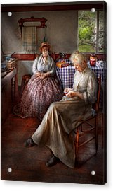 Sewing - I Can Watch Her Sew For Hours Acrylic Print by Mike Savad
