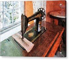 Sewing Machine Near Lace Curtain Acrylic Print by Susan Savad