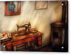 Sewing Machine - Sewing In A Cozy Room  Acrylic Print by Mike Savad