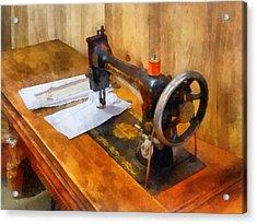 Sewing Machine With Orange Thread Acrylic Print by Susan Savad