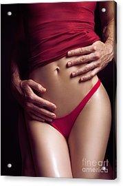 Sexy Couple Man Hands Embracing Woman Acrylic Print by Oleksiy Maksymenko