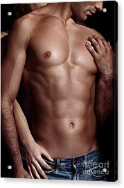 Sexy Couple Woman Behind Man With Sexy Muscular Bare Torso Acrylic Print