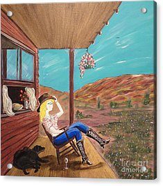 Sexy Cowgirl Sitting On A Chair At High Noon Acrylic Print