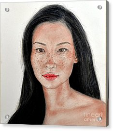 Sexy Freckle Faced Beauty Lucy Liu Acrylic Print by Jim Fitzpatrick