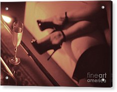 Sexy Young Lady In Stiletto High Heel Shoes And Glass Of Champagne Acrylic Print by Edward Olive