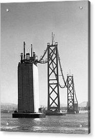 Sf Bay Bridge Construction Acrylic Print by Charles Hiller
