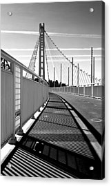 Sf Bay Bridge Pedestrian Path In Bw Acrylic Print
