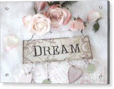 Shabby Chic Cottage Pink Roses Dream - Shabby Chic Dreamy Romantic Pink Roses - Dream Decor Acrylic Print