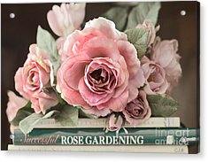 Shabby Chic Vintage Roses - Dreamy Ethereal Peach Pink Roses Garden Cottage Art Acrylic Print by Kathy Fornal