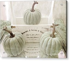 Shabby Chic Pastel White Vintage French Basket Of Pumpkins Acrylic Print by Kathy Fornal