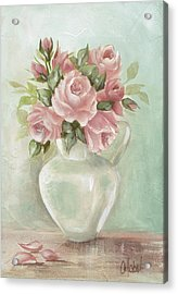 Shabby Chic Pink Roses Painting On Aqua Background Acrylic Print