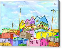 Shacks On The Hill Acrylic Print by Gerry Robins