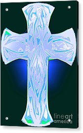 Shades Of Blue And Green Abstract Cross Acrylic Print by Minding My Visions by Adri and Ray