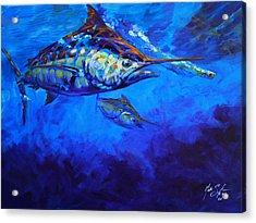 Shades Of Blue Acrylic Print by Savlen Art