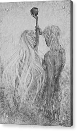 Acrylic Print featuring the painting Shades Of Gray - Adam And Eve by Nik Helbig