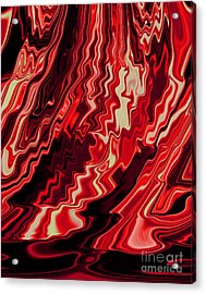 Shades Of Red And Black Blending Together Flowing Rippled Motion Acrylic Print