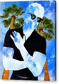 Shadow Man Palm Springs Acrylic Print by William Dey