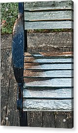Acrylic Print featuring the photograph Shadow Protecting Frost On Bench by Gary Slawsky
