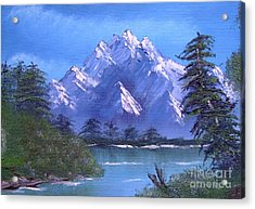 Acrylic Print featuring the painting Shadowed Mountain Lake by Marianne NANA Betts