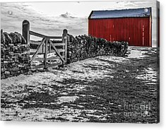 Shakertown Red Barn - Sc Acrylic Print by Mary Carol Story
