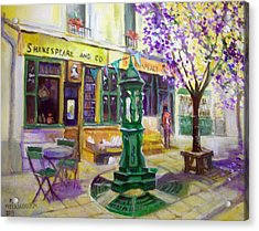 Acrylic Print featuring the painting Shakespeare And Co Bookshop by Paul Weerasekera