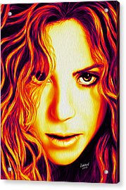 Shakira Acrylic Print by Rebelwolf