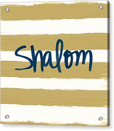 Shalom- Blue With Gold Acrylic Print by Linda Woods