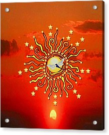 Shaman Sun Acrylic Print by Mary Anne Ritchie
