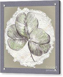 Shamrock On Handmade Paper Acrylic Print
