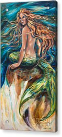Shana The Mermaid Acrylic Print by Linda Olsen