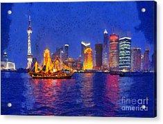 Shanghai During Dusk Time Acrylic Print